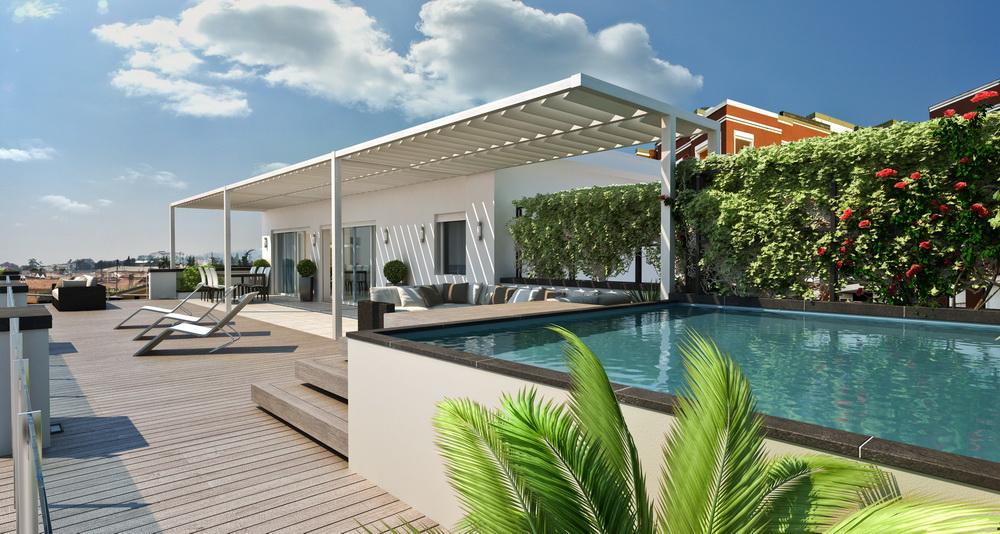 Attico con terrazza 3d kukua design for Arredamento attico